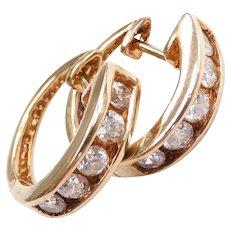 Faux Diamond .60 ctw Huggie Hoop Earrings 10k Gold