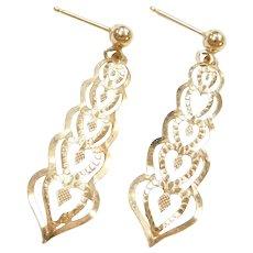 14k Gold Heart Dangle Earrings