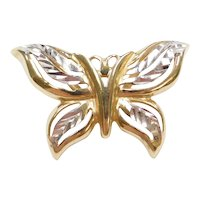14k Gold Two-Tone Butterfly Pendant