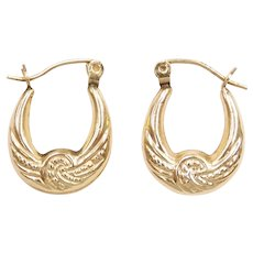 Embossed Hollow Hoop Earrings 10k Gold