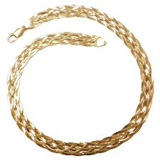 "16"" 14k Gold Wide Woven Necklace ~ 17.7 Grams"