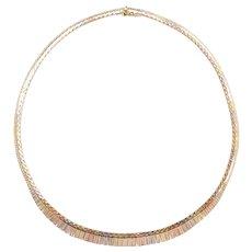 "16 1/4"" 14k Gold Tri-Color Graduated Necklace"