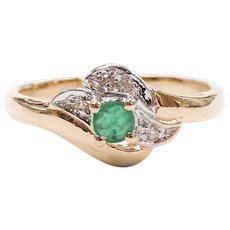 Emerald and Diamond .15 ctw Ring 10k Gold Two-Tone