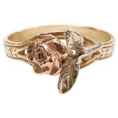 Rose Flower Ring 14k Gold Tri-Color