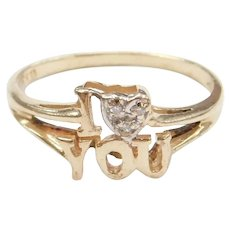 14k Gold I Love You Diamond Heart Ring