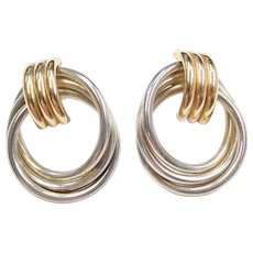 Sterling Silver and 14k Gold Circle Earrings