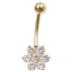 10k Gold Faux Diamond Flower Belly Button Ring / Navel Ring