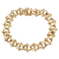 "6 1/2"" 14k Gold Double Link Charm Bracelet with Beads"