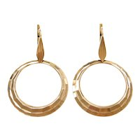 14k Gold Big Circle Earrings With Lever Backs