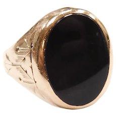 Art Deco Black Onyx Ring 10k Gold
