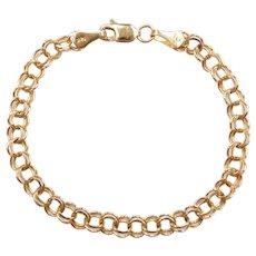 "6"" 14k Gold Double Link Charm Bracelet"
