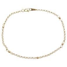 """9"""" 14k Gold Bead Anklet"""