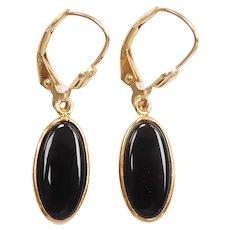 Black Onyx Dangle Earrings 14k Gold