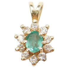 .35 ctw Natural Emerald and Diamond Halo 14k Gold Pendant