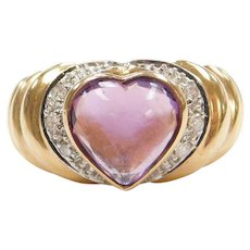 14k Gold Amethyst Heart Ring with Diamonds