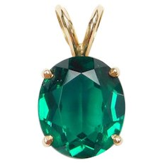 14k Gold Faux Emerald Pendant