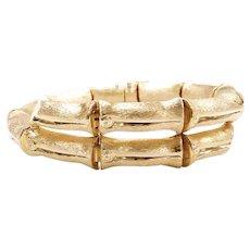 """Bypass Bamboo Link Bracelet 18k Gold 8 1/4"""" Length, 7"""" Inside Measurment, 32.8 Grams"""