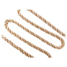 """Double Twisted Rope Chain Necklace 14k Yellow and Rose Gold Two-Tone 19 5/8"""" Length, 24.7 Grams"""