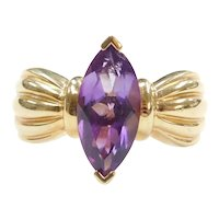 14k Gold Amethyst Marquise Ring