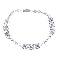 "7 3/8"" 10k White Gold Iolite Bracelet"