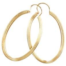 Elongated Oval Hoop Earrings 18k Gold