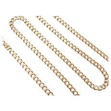 "17 1/2"" 14k Gold Curb Link Chain ~ 15.1 Grams"