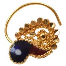 Enamel Nose Ring / Stud 22k Gold