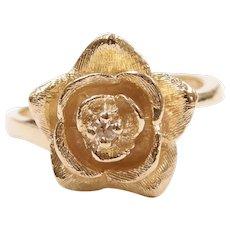 Diamond .02 Carat Rose Flower Ring 14k Gold
