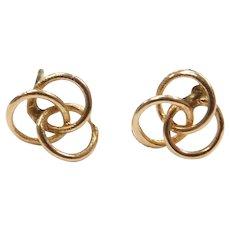 14k Gold Small Love Knot Stud Earrings