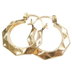 14k Gold Geometric Hoop Earrings