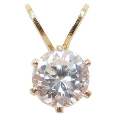 14k Gold Faux Diamond Solitaire Pendant
