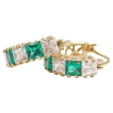 14k Gold Green Quartz and Faux Diamond Hoop Earrings