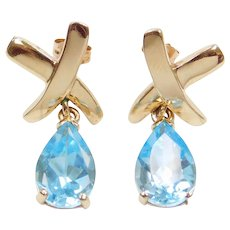 10k Gold Blue Topaz Earrings with X Kiss Top