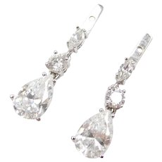 14k White Gold Faux Diamond Dangle Earring Jackets