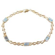 """7 1/4"""" 10k Gold Blue Topaz Bracelet"""