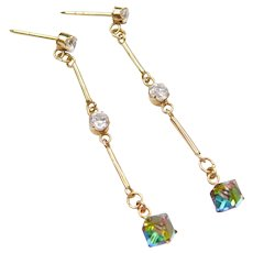 14k Gold Long Dangle Earrings with Faux Diamonds and Foil Back Aurora Borealis
