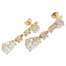 14k Gold Faux Diamond Stud Earrings with Dangle Jackets