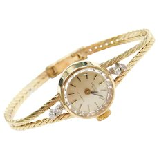 14k Gold Geneve Swiss Ladies Watch with Diamond Accents