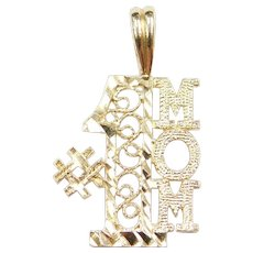 14k Gold #1 MOM Filigree Charm