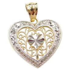 14k Gold Two-Tone Filigree Heart Charm / Pendant