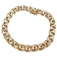 "7 1/2"" 18k Gold Double Link Charm Bracelet"