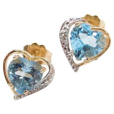 14k Gold Blue Topaz and Diamond Heart Stud Earrings Two-Tone