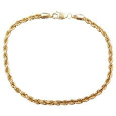 "7 1/4"" 14k Gold Textured Rope Bracelet"