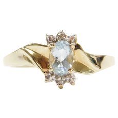 10k Gold Aquamarine and Diamond Ring Two-Tone