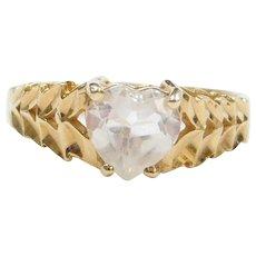 14k Gold Faux Diamond Heart Ring