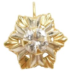 14k Gold Faux Diamond Snowflake Pendant