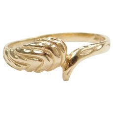 14k Gold Diamond Cut Bypass Ring
