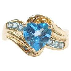 10k Gold Blue Topaz Heart Ring