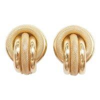 14k Gold Big Circle Clip On Earrings