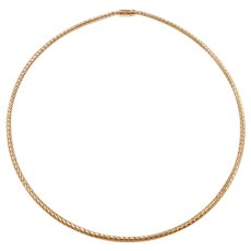 "17"" 14k Gold Mesh Omega Style Chain ~ 10.9 Grams"